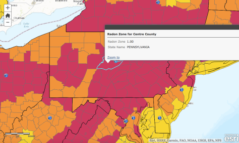 Centre County is located within a potentially elevated radon area, Zone 1 as determined by the EPA